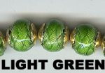 "Oriental Metal Bead, 12mm round, ""basket weave"", light green, (4 beads)"