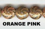 Oriental Metal Bead, 15mm disc, orange pink, (4 beads)