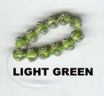 "Oriental Metal Bead, 6mm round, ""bali look"", light green, (4 beads)"