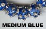 "Oriental Metal Bead, 8mm round, ""bali look"", medium blue, (4 beads)"