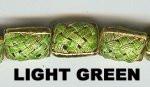 "Oriental Metal Bead, 12x15mm square disc, ""basket weave,"" light green, (4 beads)"