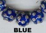 """Oriental Metal Bead, 12mm round, """"bali look"""", blue, (2 beads)"""