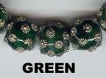 "Oriental Metal Bead, 12mm round, ""bali look"", green, (2 beads)"