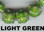 "Oriental Metal Bead, 12mm round, ""bali look"", light green, (2 beads)"