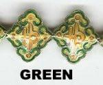 """Oriental Metal Bead, 20x18mm enamel """"lucky"""", green, (4 beads)"""