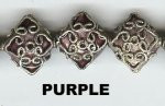 Oriental Metal Bead, 17x15mm diamond enamel, purple, (2 beads)