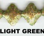 "Oriental Metal Bead, 20x18mm enamel ""lucky"", light green, (4 beads)"