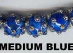 "Oriental Metal Bead, 12mm round, ""bali look"", medium blue, (2 beads)"