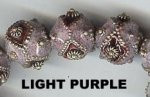 "Oriental Metal Bead, 14mm round, enamel ""diamond"", light purple, (2 beads)"