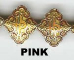 "Oriental Metal Bead, 20x18mm enamel ""lucky"", pink, (4 beads)"