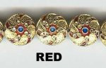 Oriental Metal Bead, 14mm disc enamel, red, (4 beads)