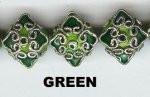 Oriental Metal Bead, 17x15mm diamond enamel, green, (2 beads)