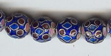 Oriental Metal Bead, 10mm enamel, (4 beads)