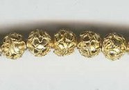"Oriental Metal Bead, 8mm enamel ""gold"", (4 beads)"