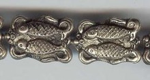 Oriental Metal Bead, 20x29mm double fish, silver on copper, (2 beads)