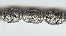 "Oriental Metal Bead, 9x13mm ""basket look"", silver on copper, (2 beads)"