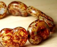Nautilus Shell Bead, 16x14mm, Czech Glass, milky tortoise, (10 beads)
