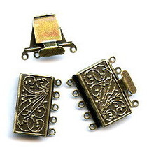 Vintage Bronze (brass oxidized), Rectangle Push-Pull Clasp, 23x21mm, 5-strand, (1 two-part clasp set)