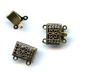 Vintage Bronze (brass oxidized), Rectangle Filigree, Push-Pull Clasp, 13x11mm, 2-strand, (1 two-part clasp set)