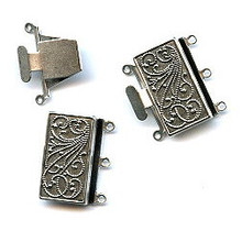 Antique Silver (over brass), Rectangle, Push-Pull Clasp, 23x21mm, 3-strand, (1 two-part clasp set)