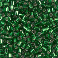 Miyuki Delica Beads, Large, size 8/0, SKU 195008.DBL8-0046, Silver Lined Green, (1 10gr tube; apprx 330 beads)