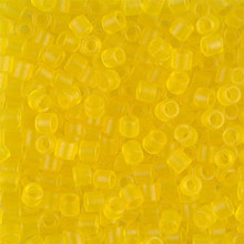 Miyuki Delica Beads, Large, size 8/0, SKU 195008.DBL8-0743, Matte Transparent Yellow, (1 10gr tube; apprx 330 beads)