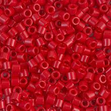Miyuki Delica Beads, Large, size 8/0, SKU 195008.DBL8-0723, Opaque Red, (1 10gr tube; apprx 330 beads)