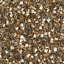 "Japanese Miyuki Seed Beads, size 11/0, SKU 111030.MY11-0193cut, 24KT gold light plated cut, (5 grams, 3"" tube, apprx 550 beads)"
