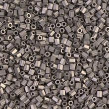 "Japanese Miyuki Seed Beads, size 11/0, 0190Fcut, matte nickel plated cut, (10 grams, 3"" tube, apprx 1100 beads)"