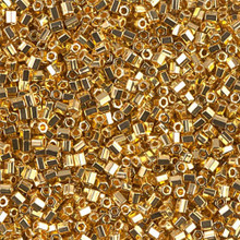 "Japanese Miyuki Seed Beads, size 11/0, SKU 111030.MY11-0191cut, 24KT gold plated cut, (5 grams, 3"" tube, apprx 550 beads)"