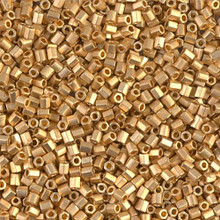 "Japanese Miyuki Seed Beads, size 11/0, SKU 111030.MY11-0191Fcut, matte 24KT gold plated cut, (5 grams, 3"" tube, apprx 550 beads)"