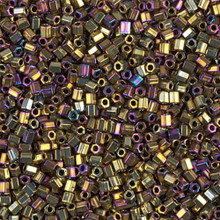 "Japanese Miyuki Seed Beads, size 11/0, SKU 111030.MY11-0188cut, metallic purple gold iris cut, (10 grams, 3"" tube, apprx 1100 beads)"