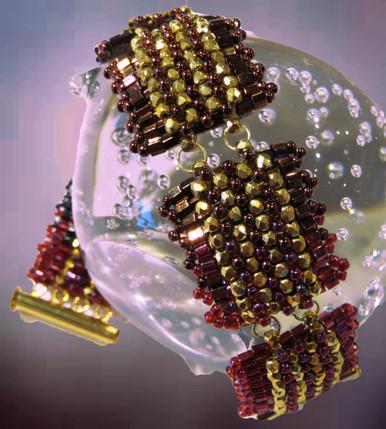 Raspberry Sunset (w/gold plate beads)