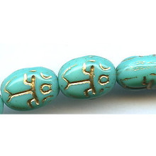 Scarab, Czech Glass Bead, 11x8mm, green turquoise/gold lines, (25 beads)
