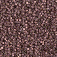 Delica Beads (Miyuki), size 11/0 (same as 12/0), SKU 195006.DB11-2183, duracoat semi frosted silver lined dyed raisin, (10gram tube, apprx 1900 beads)
