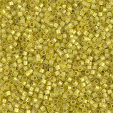 Delica Beads (Miyuki), size 11/0 (same as 12/0), SKU 195006.DB11-2187, duracoat semi frosted silver lined dyed citron, (10gram tube, apprx 1900 beads)