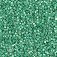 Delica Beads (Miyuki), size 11/0 (same as 12/0), SKU 195006.DB11-2188, duracoat semi frosted silver lined dyed spearmint, (10gram tube, apprx 1900 beads)