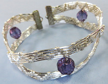 WIRE WEAVE CURVY BRACELET WITH BEADS (class fee plus kit)