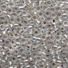 Japanese Miyuki Seed Beads, size 6/0, 1001, silverlined crystal ab, (1 tube, apprx 24-28 grams, apprx 315 beads per tube)