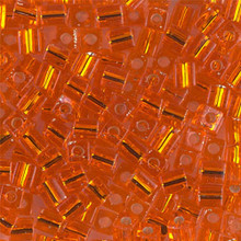 Japanese Miyuki 4x4 Cube Seed Bead. SKU 189004.SB4-0008, Tr. Orange S/L, (1 24-28gr tube, apprx 336 beads, apprx 336 beads)