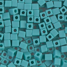 Japanese Miyuki 4x4 Cube Seed Bead. SKU 189004.SB4-0412F, Opaque Turquoise Green Matte, (1 24-28gr tube, apprx 336 beads, apprx 336 beads)