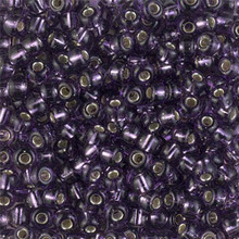 Japanese Miyuki Seed Beads, size 6/0, SKU 111031.MYK6-0024, silverlined amethyst, (1 tube, apprx 24-28 grams, apprx 315 beads per tube)