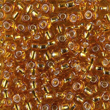 Japanese Miyuki Seed Beads, size 6/0, SKU 111031.MYK6-2422, silverlined topaz, (1 tube, apprx 24-28 grams, apprx 315 beads per tube)