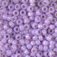 Japanese Miyuki Seed Beads, size 6/0, SKU 111031.MYK6-0574, dyed lilac silverlined alabaster, (1 tube, apprx 24-28 grams, apprx 315 beads per tube)