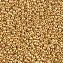 Japanese Miyuki Seed Beads, size 11/0, SKU 111030.MY11-0191F, matte 24KT gold plated, (1 5 gram tube)