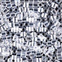 Miyuki Delica Beads, Large, size 8/0, SKU 195008.DBL8-0050, crystal luster, (1 10gr tube; apprx 330 beads)
