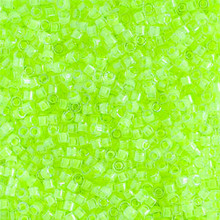 Miyuki 10/0 Medium Delicas, SKU 195016.DBM10-2031, luminous lime aid, (1 10gram tube, apprx 1000 beads)