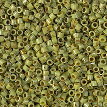Miyuki 10/0 Medium Delicas, SKU 195016.DBM10-2265, chartreuse picasso, (1 10gram tube, apprx 1000 beads)