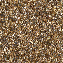 Delica Beads (Miyuki), size 11/0 (same as 12/0), SKU 195006.DB11-0034cut, light gold 24KT cut, (5gram tube, apprx 950 beads)