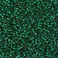 Delica Beads (Miyuki), size 11/0 (same as 12/0), SKU 195006.DB11-0605, emerald silver lined, (10gram tube, apprx 1900 beads)